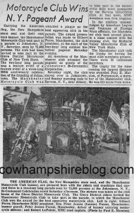 Newspaper Clipping: Manchester Motorcycle Club members in 1958 Johnstown NY parade for their bicentennial. L to R: Gilbert Perro, Manchester MMC President; Mrs. Peter James (Louise) Forest, Manchester, banner guard; Peter James Forest, Manchester, driver of banner carrying motorcycle sidecare; and Robert LaPointe, MMC road captain (Photo by Paul E. marston). Courtesy of Pat Rivard.