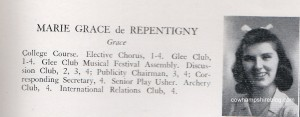 Marie Grace de Repentigny 1942 Central High School (Manchester NH) Class photograph and yearbook description
