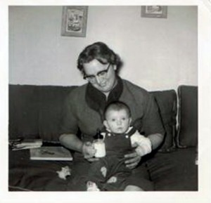 Marilyn (Warren) Woods in 1957 holding her nephew, Kevin Groves.  Photograph courtesy of same nephew.