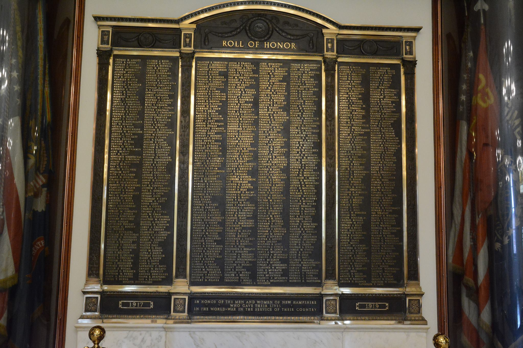 World War I Plaque, Hall Of Flags, New Hampshire State House, Concord NH