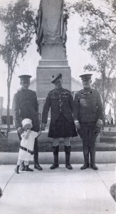 Armistice Day 1918, Merrimack NH, soldiers and child in front of War Memorial on Baboosic Lake Road. Photograph Courtsey of Kimberly A. Coutts.