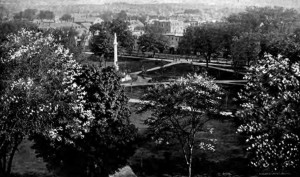 A view of the Soldier's Monument in (then) Merrimack Common (now Veteran's Park) from the top of Pembroke Block building, Manchester, NH; from Willey's semi-centennial book of Manchester, 1846-1896, by George Frank Willey, 1896; page 35