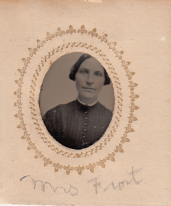 Mrs. Oriseville Sarah (Fisher) Frost of Peterborough NH, from a gem sized tintype photograph