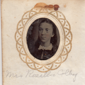 Mrs Rosella (Phelps) Colby from a gem-sized tintype photograph