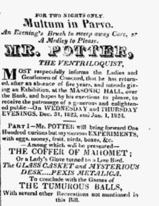 "Notice in the New Hampshire Patriot <br> and State Gazette of 29 December <br> 1823 announcing ""Mr. Potter."""