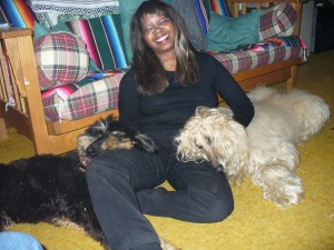 Vanessa with her beloved afghan hounds.