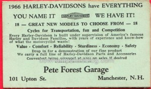In 1996 Pete Forest Garage had moved to Upton Street in Manchester NH as this promotional sales card shows.