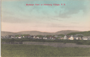 Old postcard of Pittsburg NH town.
