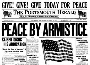 Portsmouth Herald front page November 11, 1918