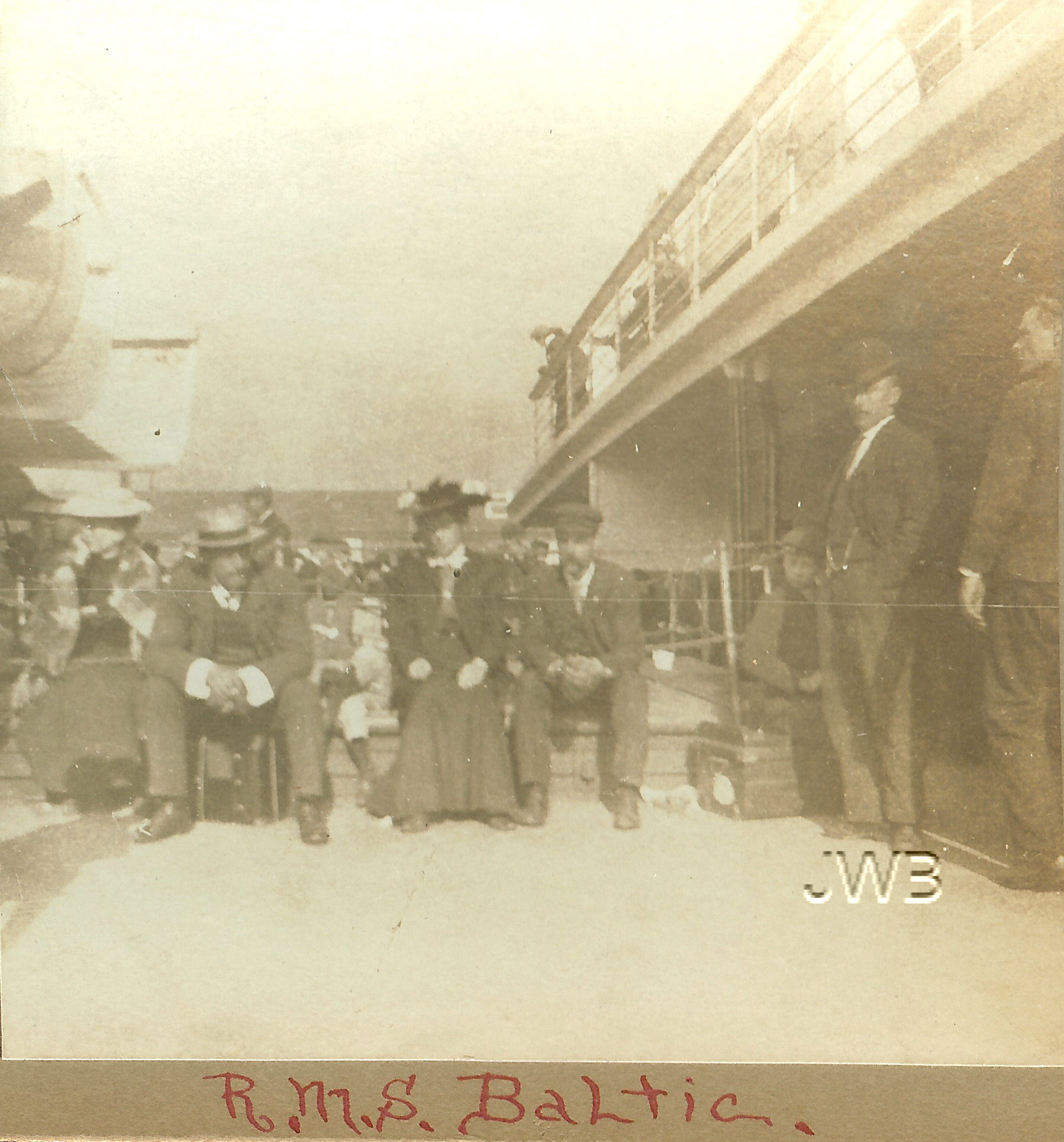 RMS Baltic Passenger during 1904 voyage.  Rare stereograph view property of Janice W. Brown