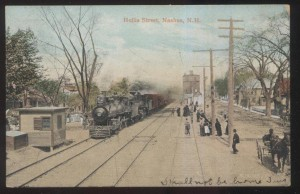 Hollis Street Railroad Station, Nashua NH. Fred L. Batchelder was a train engineer for the B&M Railroad.