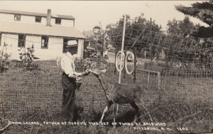 Frank Baldwin and his trained deer, Simon Legree.