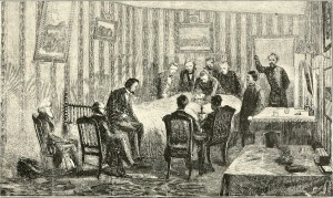 Sketch of Lincoln's last moments from The assassination of Abraham Lincoln, by Osborn H. Oldroyd, 1901, Washington DC