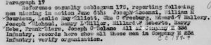 Snippet of official A cablegram from General HQ, AEF France, June 7, 1918 states there were eleven soldiers missing in Action