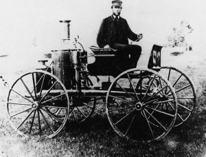 """Sylvester Roper and his """"steam carriage"""" made sometime before 1870. From The Smithsonian Institution [found at Wikipedia]"""
