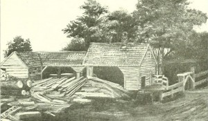 A drawing of the Harris Mill, Ludlow MA, from The History of Ludlow, Massachusetts, 2d ed, published 1912, Springfield MA