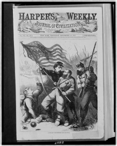 Thomas Nast illustration published in the September 20, 1862 issue of Harper's Weekly at Son of the South pictured the gallant color-bearer of the 10th New York. Library of Congress