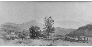 Three Views, No. 1: Mount Washington from Shelburn, New Hampshire John William Hill; watercolor and graphite on off-white wove paper, Gift of J. Henry Hill 1882. The Metropolitan Museum of Art collection.