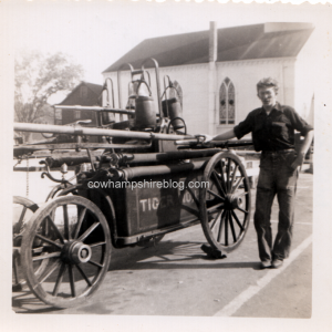 Tiger No. 1 fire engine, back of photograph dated June 1952, Dover NH. If any can identify the exact location and the identity of the man, please contact me or leave a comment.