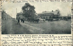 Old postcard of the train station in Portsmouth, New Hampshire. Located on -- Street, Gertrude's home was across the street.