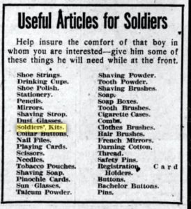 "A 1917 list of ""Useful Articles for Soldiers"" published in several newspapers."