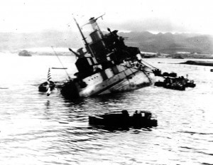 Photograph of the USS Utah capsizing following the Pearl Harbor bombing of December 1941.