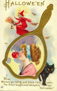 Victorian halloween card witch cat apple