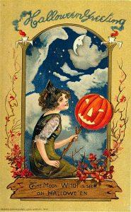 Victorian halloween postcard