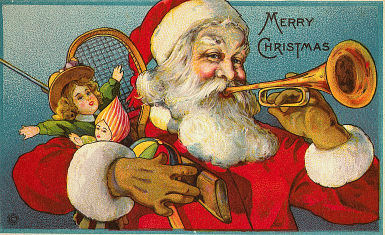 santa claus vintage card - Old Time Christmas Decorations