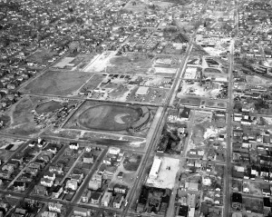 Aerial view of southeast Manchester pre 1957. Gill Stadium in the center, diagonally up and left is the empty lot that would eventually become Sheehan-Basqil Park. Photograph by Pete Caikauskas Sr. Copyright held by his family, used here with permission