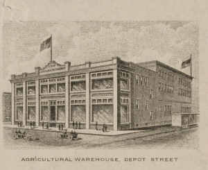 Varick Agricultural Building on Depot Street. Originally the railroad tracks ran past it.