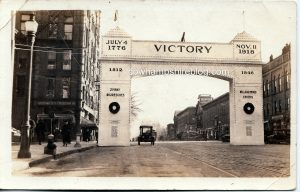 The Victory Arch on Main Street Nashua, NH. It stood from November 1919 to January 1920.