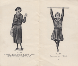 Illustrations of the uniforms worn at Villa Augustina, Goffstown NH, from an undated pamplet circa 1920-1930.