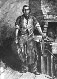 Sketch of a blacksmith, from the book published in 1885, showing the poem, The Village Blacksmith, by Henry Wadsworth Longfellow; from Hathi Trust Digital Library