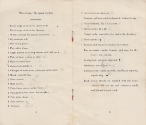 Circa 1918-1930 List of Wardrobe requirements for students at Villa Augustina, Goffstown NH. Photograph property of Janice W. Brown