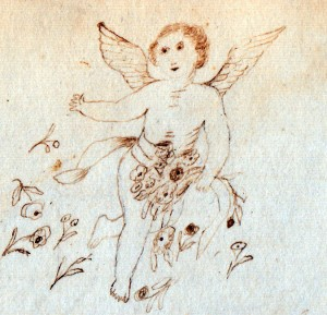 Sketch of an angel by .... L. Etta Moulton in 1873