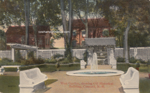 Old Postcard showing the back garden of the (then) NH Historical Society building.