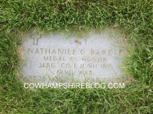 Military marker for Nathaniel Barker at Last Rest Cemetery, Merrimack NH.