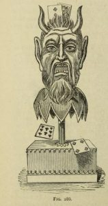 Magician's devil head prop used for card tricks. From Modern magic:A practical treatise on the art of conjuring by Professor Hoffmann