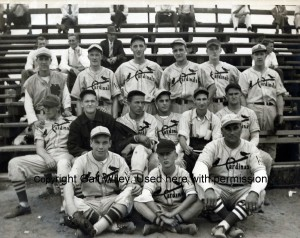 1938 photograph of the Manchester Cardinals baseball team. Paul Clement is top row 3rd from right, his father Fred is bottom row, far right.  Roger Raymond who lost his life in WW2 is pictured top row 4th from right.  Photograph courtesy of Gail Wiley, used with her permission.