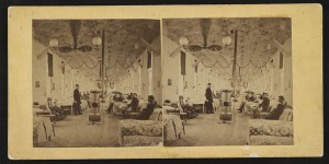 Stereograph, Civil War hospital scene, McClellan Hospital, Ward 12, Philadephia PA, circa 1863-1868; Library of Congress Prints and Photographs Division Washington, D.C