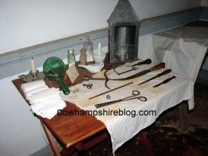 Colonial medical tools and paraphernalia. Photograph taken at Ann Whitall House, National Park NJ in 2006 by Janice Brown.
