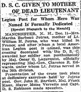December 15, 1919 newspaper clipping about award of Distinguished Service Cross.