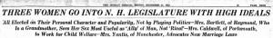 December 31, 1922 Boston Herald headline on the three women elected to the NH legislature