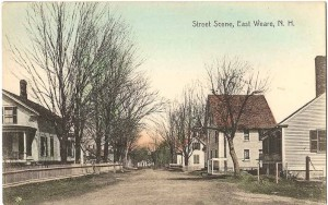 Old postcard of East Weare VIllage
