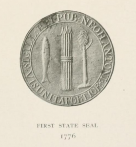 "New Hampshire's first state seal, 1776, from ""History of the Seal and Flag of New Hampshire,"" 1916"