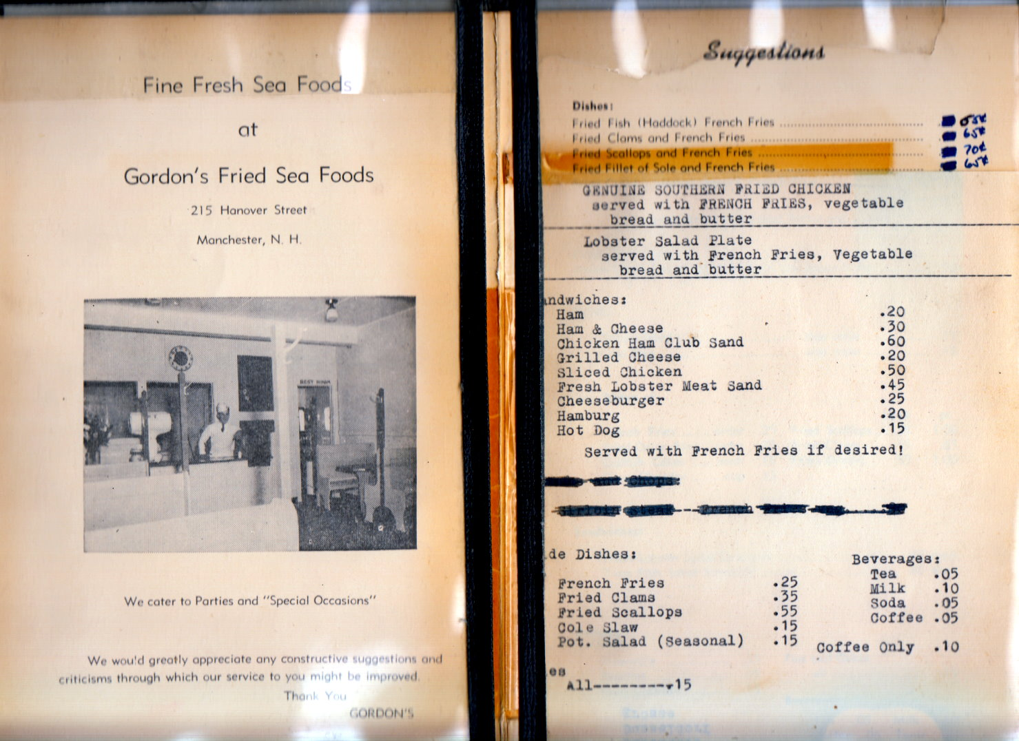 Inside of menu of Gordon's Fried Sea Foods