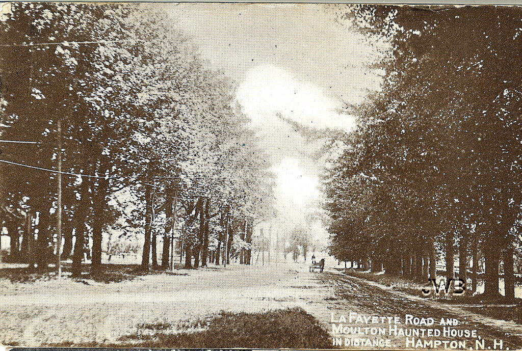 Postcard of Lafayette Road with the haunted Moulton House in the distance.