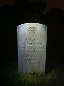 Photograph of David Robidoux's gravestone at Arlington National Cemetery.