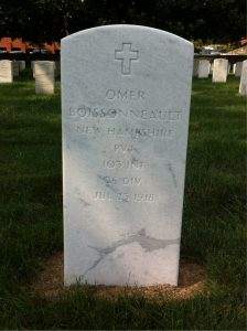 Photograph of headstone of Omer Boissonneau in Arlington National Cemetery